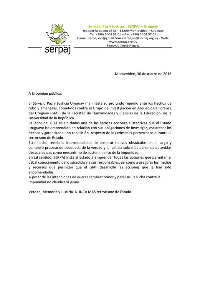 Comunicado Serpaj WEB